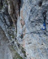 die direkte Variante des Seegrubenpfeilers hat eine schwere Stelle die man auch A0 klettern kann